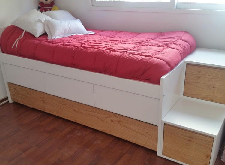 2 cama con cajones y carro y escalera doble