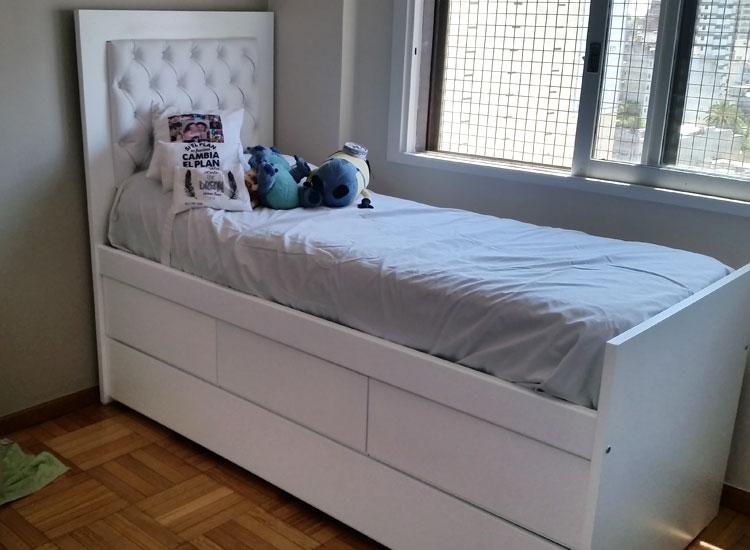 4 cama con cajones y carro capitone